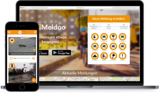Bildschirm mit MeldooPLUS und App mit Meldoo