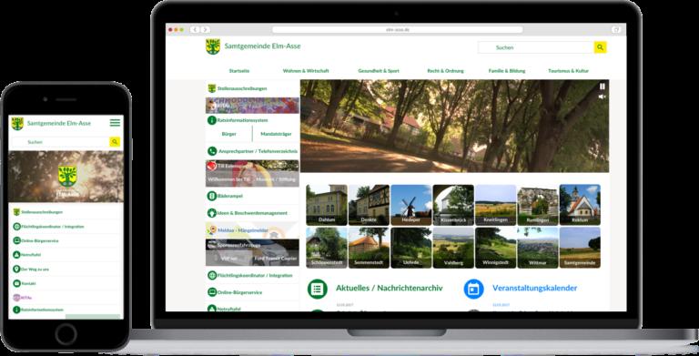 Vorschau einer Gemeindeseite mobil und auf Desktop